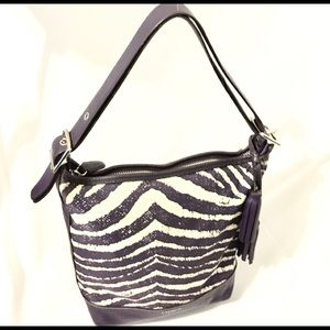 Coach Zebra Print Large Purse/Crossbody